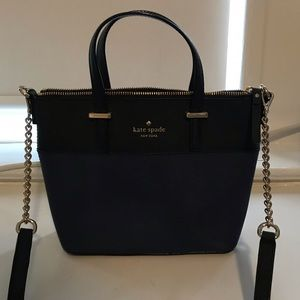 blue and black purse